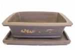 Bonsai Pot, Rectangle, 36cm, Brown, Unglazed, Motif, Saucer